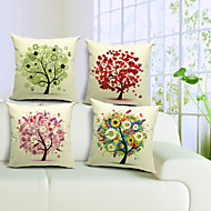 set om 4 kreativa träd bomull / linne dekorativa örngott