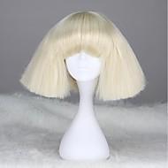 Lady Gaga Style Fashion Capless korte rechte Blonde synthetische pruik