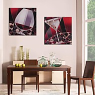 Stretched Canvas Art Red Wineglass Set of 2