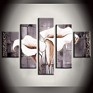 Oil Painting Landscape Mechanism Pure Lily White Flower with Stretched Frame Set of 5 Hand-Painted Canvas