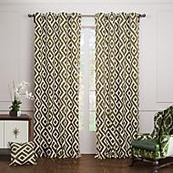 twopages® (dois painéis grommet top) oliveiras sobrepostos painéis verdes cortina de lona de algodão estrutura