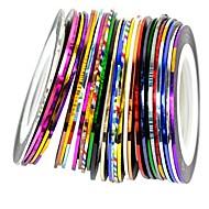 30db vegyes színek tekercs csíkozás mérőszalag Nail Art dekoráció matrica
