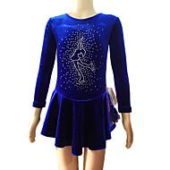 Ice Skating Dress Women's / Girl's Long Sleeve Skating Skirts & Dresses Figure Skating Dress Velvet Blue Skating WearPerformance /