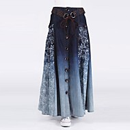 Women's Bohemia Vintage  Casual Button Jeans Long Skirt  (Belt Random)