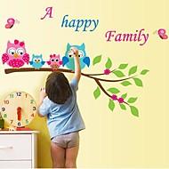 Createforlife ® Cartoon Búhos Happy Family Kids Nursery Room etiqueta de la pared la pared del arte Tatuajes