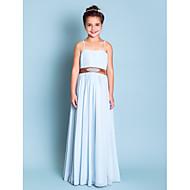 Vloer Lengte Doek Junior bruidsmeisjesjurk - Hemelsblauw A-Lijn/Prinses Spaghetti Bandjes