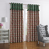 Country Two Panels Floral Botanical Green Red Bedroom Polyester Blackout Curtains Drapes