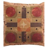 "Createforlife ® 18 ""x 18"" Square Vintage Patchwork Red Sun Stars Bomull / Lin Dekorativa Kudde"