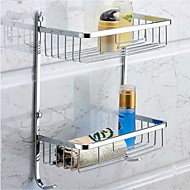 Bathroom Shelf Chrome Wall Mounted 28*14*38cm(11*5.5*15inch) Stainless Steel Contemporary
