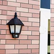 2-LED 1W White Outdoor Solar Power Wall Light With PIR Motino Sensor