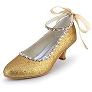 Women's Spring Summer Fall Glitter Wedding Party & Evening Kitten Heel Rhinestone Bowknot Black Blue Ivory Silver Gold Champagne