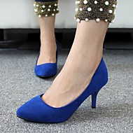 Women's Spring / Summer / Fall Heels / Pointed Toe / Closed Toe Velvet Office & Career / Casual Stiletto Heel Black / Blue / Red
