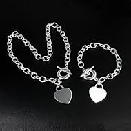 925 Серебряный Beautiful Сердце ожерелье браслет