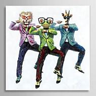 handmålade oljemålning djur Gangnam stil med sträckt ram