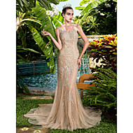 TS Couture® Formal Evening Dress - Elegant / Sparkle & Shine / See Through Plus Size / Petite Sheath / Column V-neck Court Train Stretch Satin