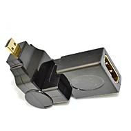 360 graders roterende 90 vinkel micro d hdmi hann til HDMI kvinnelige adapter omformer