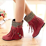 נעלי נשים - מגפיים - דמוי עור - מעוגל - שחור / חום / צהוב / ורוד - קז'ואל - עקב שטוח