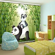 encantador estilo dos desenhos animados pai panda&panda bebê com máscara do rolo de bambu