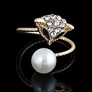 Korean Cute Fox Pattern Metal With Artificial Diamond White Pearl Opening Adjustable Ring(1Pc)