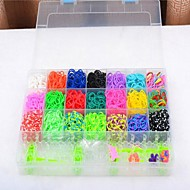 2100pcs Rubber Bands Rainbow Loom Style Fashion Loom Set (4 Package Clips,1 Looms ,6 Hook+1Box)