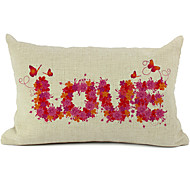 Floral Love Cotton/Linen Decorative Pillow Cover