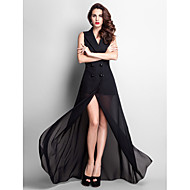TS Couture® Formal Evening / Prom / Military Ball Dress - Black Plus Sizes / Petite Sheath/Column V-neck Floor-length Chiffon