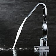 Contemporary Centerset Ceramic Valve Single Handle One Hole with Chrome Bathroom Sink Faucet