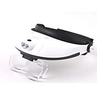 Mehrlinsen Zwei-Wege-Regulierung Kopf-tragen Lupe mit 2-LED-Licht (3 x AAA)