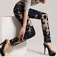 Women's Fashion Floral Print Silm Leisure Skinny Demin Long Length Pants-Screen Color