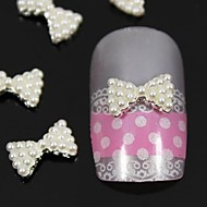 10pcs   White Pearl Bow Tie 3D DIY Alloy Nail Art Decoration