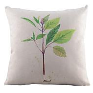 vert de feuilles fraîches de coton / lin taie d'oreiller décoratif