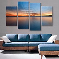 Stretched Canvas Art The Quiet Lake Under the Sunlight Landscape Set of 4