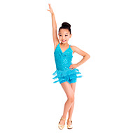 Latin Dance Dresses Women's / Children's Training Spandex / Sequined Sequins / Tassel(s) Blue / Fuchsia / Purple / RedLatin Dance /