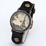 שעון אופנת עור של נשים פשטות מתכת csual מגדל אייפל פראי