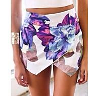 Mulheres Calças Sexy / Estampado Shorts Algodão / Poliéster Sem Elasticidade Mulheres