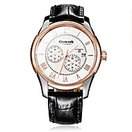 Chens®Men's Eclipse Series Rose Gold Round Plate Calf Strap Double-sided Coating Sapphire White Dial Watch