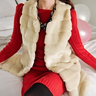 Women's Elegant Faux Fur Round Collar Sleevless Fitted Long Vest