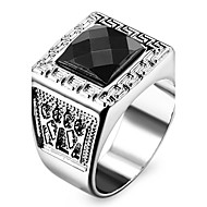 Famous Black Square Silver Stainless Steel Men's Ring Jewelry