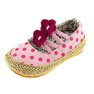 Girl's Flats Spring / Fall Ballerina / Open Toe Canvas / Cotton Casual Polka Dot / Braided Strap / Gore