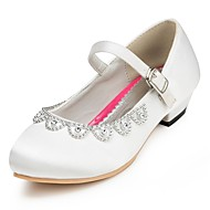 Heels Spring Summer Fall Winter Comfort Light Up Shoes Satin Wedding Flat Heel Rhinestone Pink Red Ivory White
