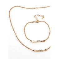 BestFriend Pattern Personable Alloy Necklace&Bracelet Set Gold (1Ste)