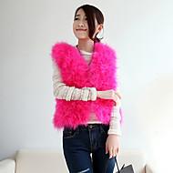 ærmeløs krave struds pels afslappet / kontor / fest lejlighed jakke (flere farver)