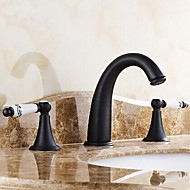 Traditional Widespread Two Handles Three Holes in Oil-rubbed Bronze Bathroom Sink Faucet