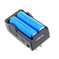 2stk 18650 3.7V-4.2V 5000mAh Li-ion batteri + 18650 batterioplader