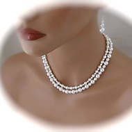 Women's Asymmetric Double Pearl Necklace