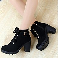 Women's Spring Fall Winter Faux Suede Casual Chunky Heel Buckle Zipper Lace-up Black Yellow Green