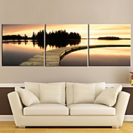 Stretched Canvas Art Sunset Waterside Set om 3