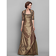 A-line Plus Sizes / Petite Mother of the Bride Dress - Brown Floor-length Half Sleeve Taffeta / Lace