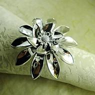 ruční květina prsten ubrousku ve stříbře, akrylové beades, 4,5 cm, sada 12