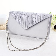 Women Silk Event/Party Evening Bag Beige / Silver / Black
